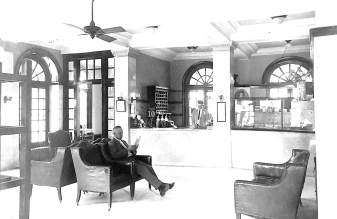 The lobby of The Hotel McFall circa 1928.