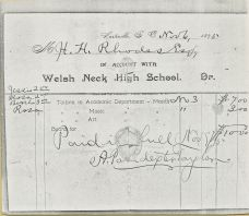 A Welsh Neck High School Account Slip.