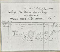 A Welsh Neck High School Account Slip.