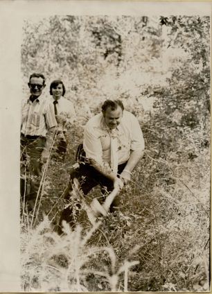 Left to Right; P.L. McCall, Mr. White & Gary E. Byrd Jr. At the site of the Long Bluff Courthouse in September 1973 .