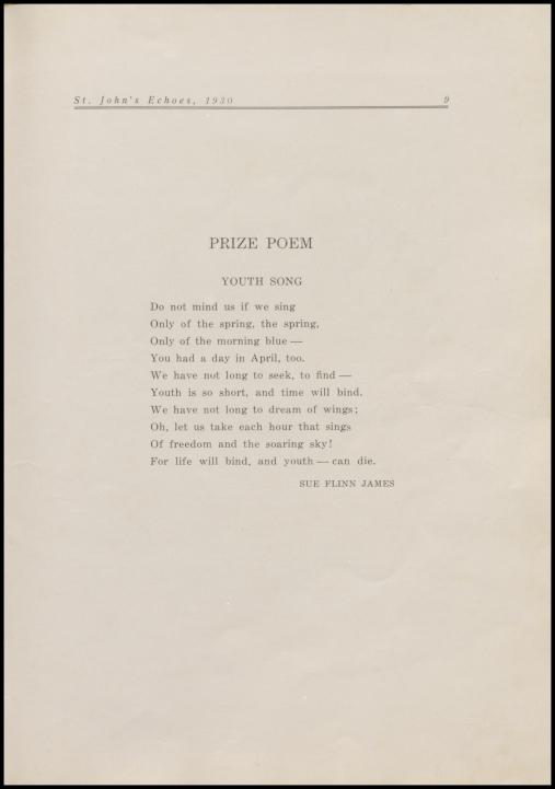 St. John's, 1930, prize poem,